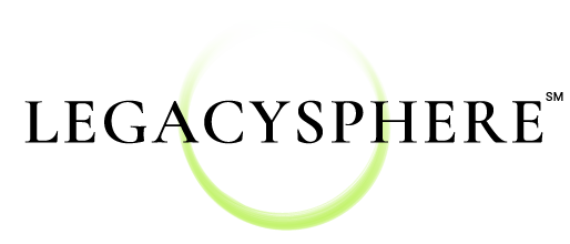Legacysphere logo - green ring fading out at top with black text